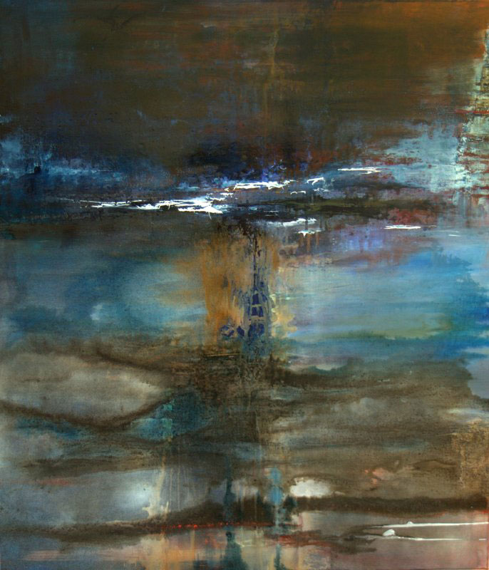 Kosmisk udsigt (2014), akryl og olie på lærred, str. 80×70 cm, Privateje